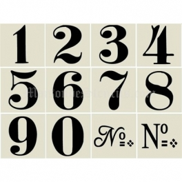 Old world style no 1 numbers 12 3x3 stencils for Classic house number fonts