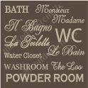 Bathroom Many Languages 12x12 Stencil
