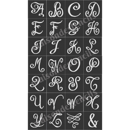 Chalk Board Hand Lettered Style Capital Alphabet 28 Small Stencils