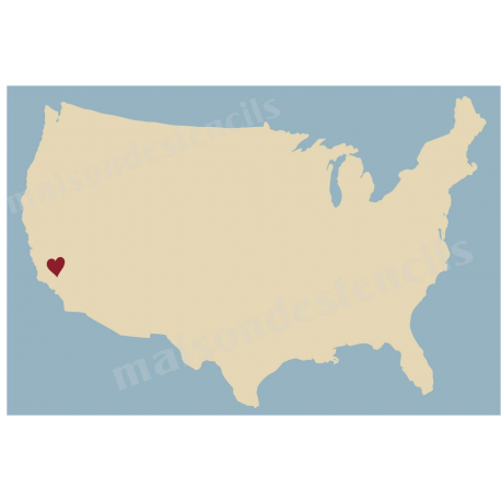 Country Map With Heart X Stencil - Usa country map