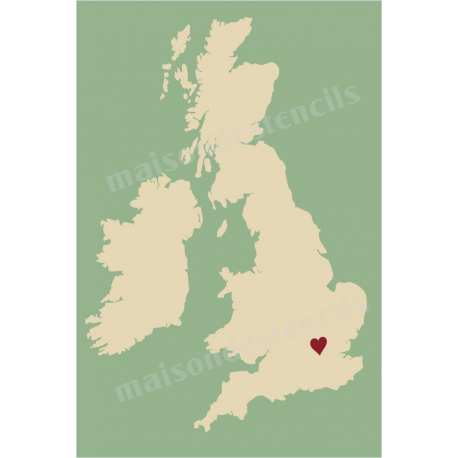 Uk country map with heart 12x18 stencil gumiabroncs Images