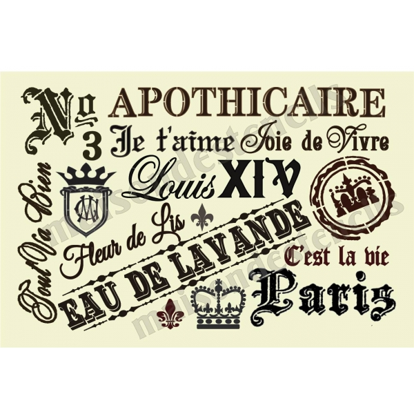 French Typography Script And Oldworld Style Phrases 12x18 Stencil