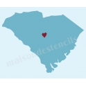 South Carolina State Map with Heart 12x12 Stencil