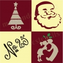 Christmas Holiday graphics 4 small 4x4 Stencils