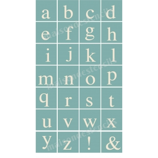 Serif Style Lower Case Alphabet 28 small stencils