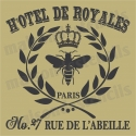 Hotel De Royale with bee and crown 12x12 Stencil