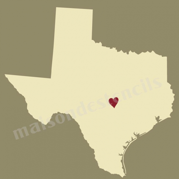 State Map With Heart X Stencil - Texas state map