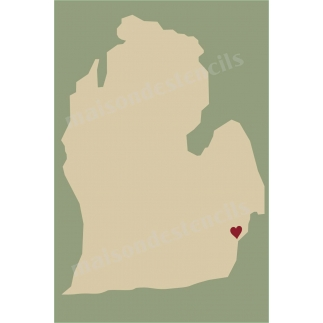 Michigan State Map with Heart 12x18 Stencil
