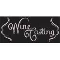 Wine Tasting with scroll corners chalk board hand script font 8 x 18  Stencil
