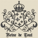 Reine de Tout with Crown and Fleur de Lis Crest 18x18 Stencil