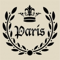Paris Laurel Wreath with Crown No 1 18x18 Stencil