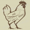 French Butcher Chicken Cuts 18x18 Stencil