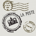 La Poste With Crown 18x18 Stencil