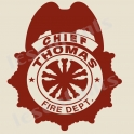 Fire Chief Custom Name 12x12 Stencil