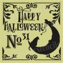 Happy Halloween No.31 with cats in moon 12x12 Stencil