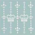 Crown and Fleur De Lis Wallpaper 18x18 Stencil
