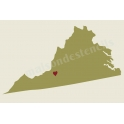 Virginia State Map with Heart 12x18 Stencil