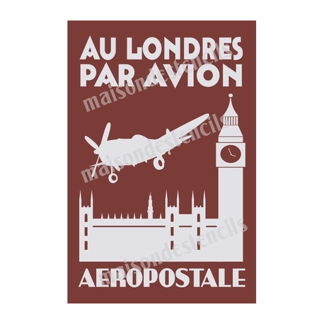 To London By Plane French Travel Poster 12x18 Stencil