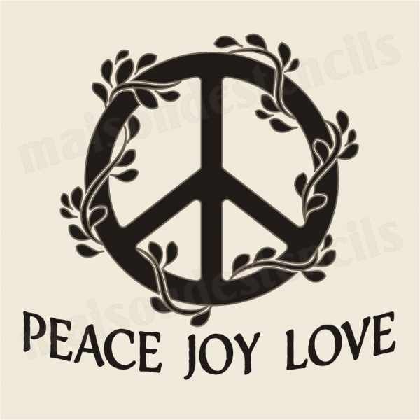 Peace Love Joy With Symbol 12x12 Stencil