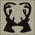 STAG - Deer double sihouette Heart 12x12 Stencil