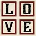 LOVE 4 Capital letter Blocks 4 - 12x12 Stencils
