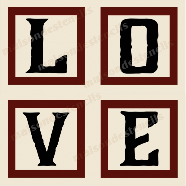 love 4 capital letter blocks 4 12x12 stencils
