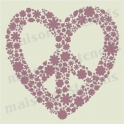 Peace Heart Flower Love symbol 12x12 stencil
