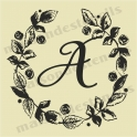 Rose Chalkboard Style Laurel Wreath with custom Monogram 12x12 stencil