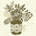 Hand sketched floral bouquet in mason jar 12 x 12 stencil