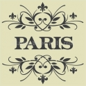 PARIS with top and bottom fleur scrolls 18X18 Stencil