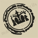 Crown in Postmark  silhouette  small  5 x 5 stencil