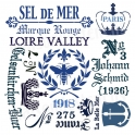 French Typography Phrases 12x12 Stencil