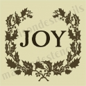 Joy with Laurel Wreath Holiday 12x12 Stencil