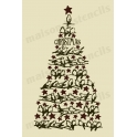 Christmas Tree with Birds 12x18 Stencil