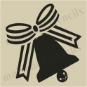 Jingle Bell with Bow silhouette small 5 x 5 stencil