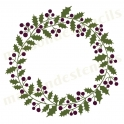 Holly Berry Laurel Wreath 12x12 Stencil