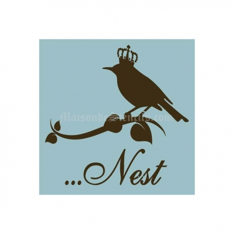 Bird With Crown Nest 8x8 Stencil