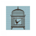 Bird With Crown In Birdcage 12x12 Stencil
