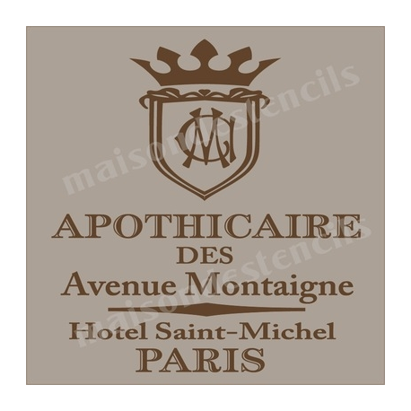 Apothicaire Apothecary French Advertisement 12x12 Stencil