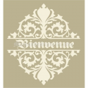 Bienvenue with Scroll top and bottom 12x12 Stencil