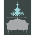 Chandelier No.3 with Love Seat 12x18 Stencil
