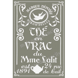 The En Vrac Loose Leaf Tea Advertisement 20x30 Stencil
