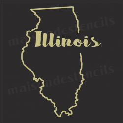 Illinois state outline 12x12 Stencil