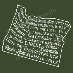 Oregon Words and Phrases 18x18 Stencil
