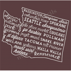 Washington Words and Phrases 18x18 Stencil
