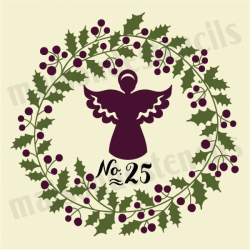 Holly Laurel Wreath with Angel 12x12 Stencil