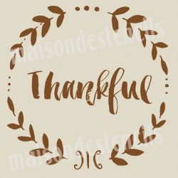 Thankful Chalkboard Laurel 18x18 Stencil