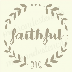 faithful chalkboard laurel 12x12 stencil