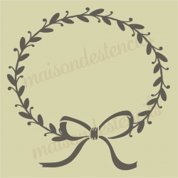 Laurel wreath with hedgehog heart 12x12 stencil