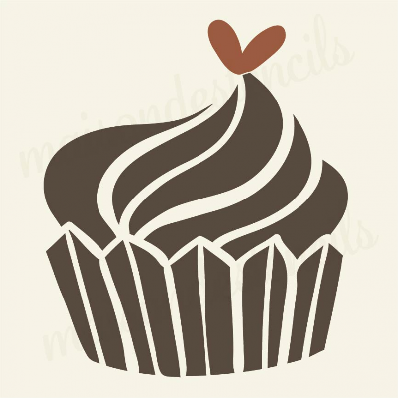 cupcake with heart 12x12 stencil